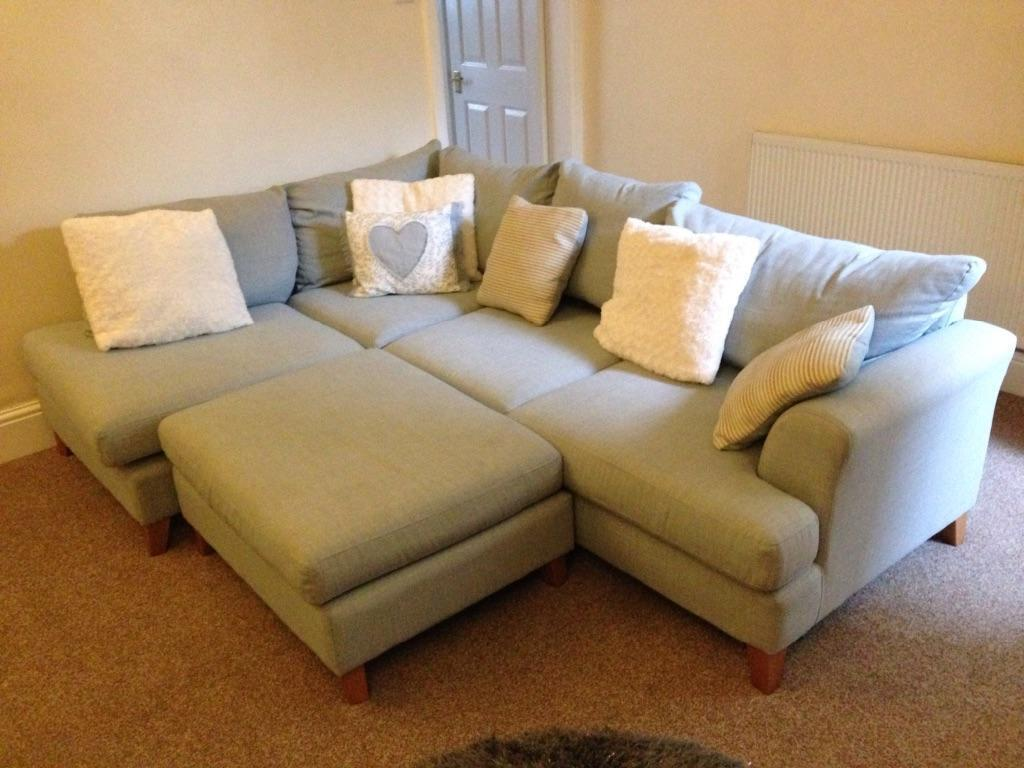 DFS Sky Blue Corner Sofa With Poufe In Bury Manchester