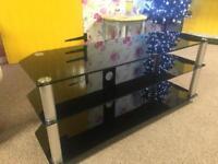 Black Glass & Chrome Corner TV Stand