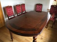 Dining table and 6 chairs. (4 chairs & 2 carvers) 200 x 109 cm.