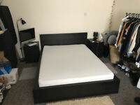 Black Double Bed inc Mattress x 2 Bedside Table and Chest of Draws Set