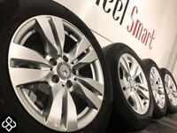 "NEW MERCEDES 16"" ALLOY WHEELS & TYRES - 5 X 112 - 225 55 16 - GLOSS SILVER - Wheel Smart"