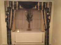 Stunning gold and black show curtains, and functioning gold fabric curtains for bay window