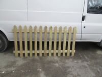 6ft wide x 3ft high pointed top tanalised treated picket panels for sale new unused