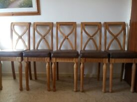 5 Solid Oak Bar Stools With Carving And Faux Leather Seat