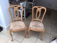 Beautiful Mallorcan wooden & wicker chairs set of 2