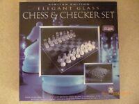 Glass Chess & Checker set. Unused