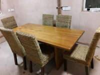 Solid Wood Table w/ 6 wicket plaited chairs