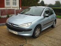 PEUGEOT 206 with A/C. RECENT SERVICE WITH NEW CAMBELT/WATER PUMP CHANGED. 12 MONTHS MOT. IMMACULATE