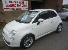 White Fiat 500 Sport,1242 cc 3 door hatchback,FSH,full MOT,runs and drives very well,£30 road tax