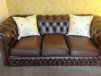 Chesterfield Three seater Manufactured By Saxon, Antique Brown, Leather, Settee