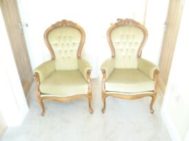 2 Georgian style light solid wood carver chairs with green velour