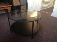 Round coffee table/ Ikea VITTSJÖ Black-brown/glass/ excellent condition