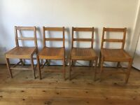 Vintage 1950s Dancer Hearne Air Ministry Beech Kitchen Dining Chairs Slatted Seats