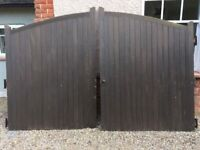 Hardwood arched front gates with hinges