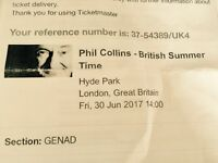 2 Tickets For Phil Collins British Summer Time 1 Day Only Tour In Hyde Park London..£250