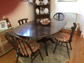 Ercol old colonial extending dining table and chairs