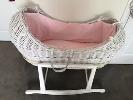White UNISEX Moses Basket with 2 linings - white & pink - used once