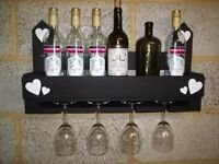 Wooden Rustic Chalk Board Fronted Wine & Glass Holder / Rack