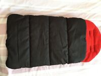 Universal fitting black foot muff for buggy/ stroller.
