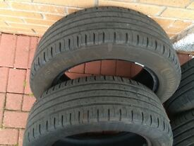 SET OF FOUR TYRES 195-55-16 APPROX 7mm TREAD