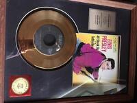 Elvis Presley 24K gold record framed