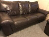 🍁 3 -1 -1 Brown Leather sofas set suite