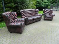 Vintage Chesterfield 3+1+1 Monks Design Leather Suite