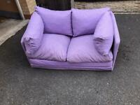 Children's 2 seater fold out sofa bed lilac/purple