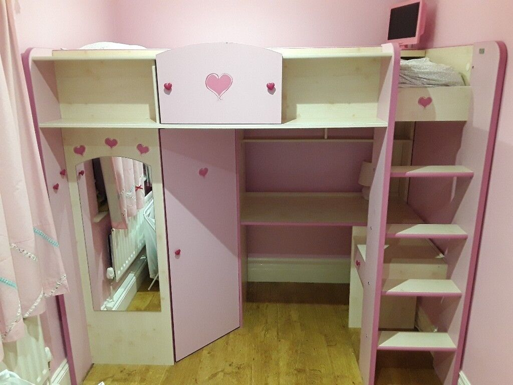 Parisot Pink Bunkbed High Sleeper With Desk And Wardrobe Includes - Parisot bedroom furniture