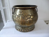 antique victorian large plant pot coal bucket log box embossed swags