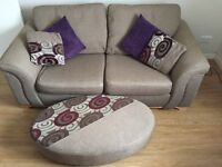 2 seats sofa with footrest