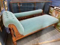 Fabulous Victorian chaise longue reupholstered and resprung in beautiful condition