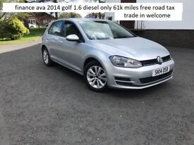finance ava 2014 golf 1.6 diesel only 65k miles trade in welcome free road tax