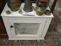 VINTAGE SOLID PINE WHITE PAINTED 'MEAT SAFE'. VERSATILE USAGE & LOCATION. VIEW/DELIVERY POSSIBLE