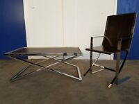 ITALIAN DESIGN SET LEATHER TOP CHROME COFFEE TABLE & ARMCHAIR DELIVERY AVAILABLE