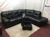 Black leather right handed corner sofa with storage pouffe excellent condition