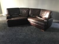 Leather corner suite & recliner