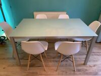 Dining Table Contemporary Tempered Frosted Glass Top with Metal Base 150cm x 90cm