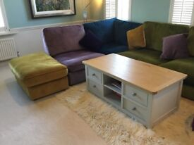 Cream painted coffee table with oak top