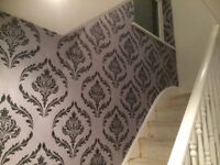 £100 PER FEATURE WALLPAPER FITTING. 24 HOUR CALL OUT SERVICE. FEATURE WALLS. PAINTER AND DECORATOR