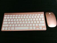 Rose gold wireless keyboard and mouse set