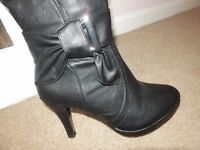 HIGH HEELED KNEE HIGH BOOTS SIZE 4 BRAND NEW