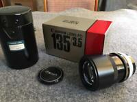 Canon lens FD 135 f/3.5 with hood & case