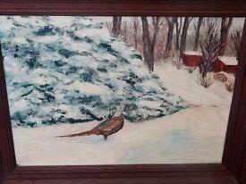 winter snow scene with pheasant, size: 49X39 cm