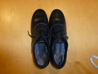 NEW Men's Black Leather Ballroom Lace up Shoes with Suede Sole - Size 43