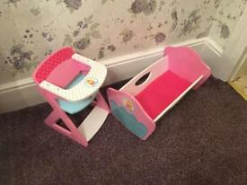 Kids cot and high chair