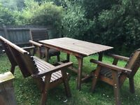 Wooden garden furniture comprising table , 2 chairs and bench seat