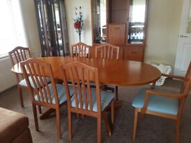 Extending Table & 6 Chairs, Sideboard, Display Cabinet & Mirror