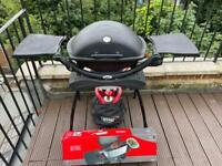 Weber Q2200 Gas Grill BBQ with Stand, Cover and Brand New Rotisserie