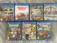 7 PlayStation 4 games excellent condition ps4, crash bandicoot, Fifa, gta, need for speed etc